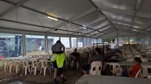 Clear span marquee with chairs for hire