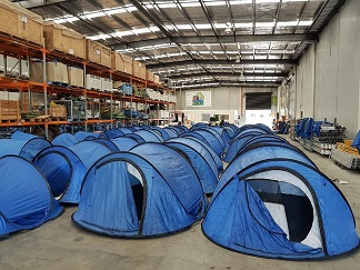 Drying wet tents in the Q Store