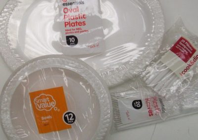 Disposable plates, cutlery