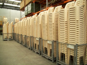 1200 stacked plastic chairs at Dandenong South