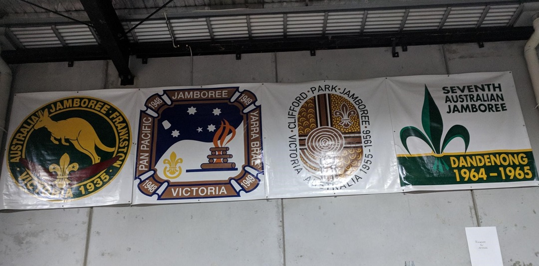 Banners from past AUstralian Jamborees on wall at the Q Store
