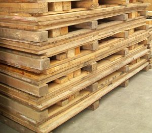 Flat packed wooden crates at Q Store