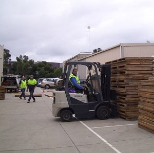 Wooden crate preparation at Q Store