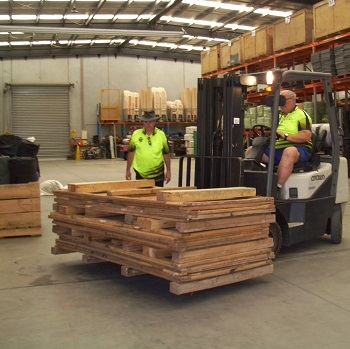 The last flat packed crate on a forklift