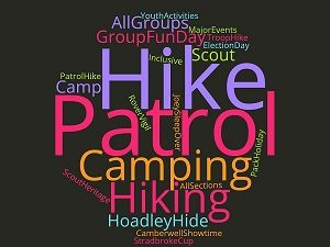 Wordcloud of Scout Activities