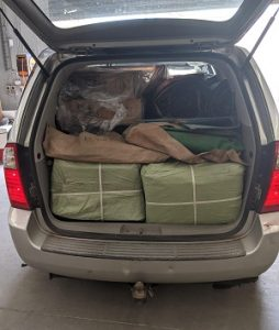 van loaded with gear for new scout group